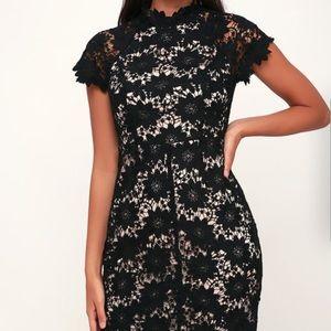Lulus Black & Nude Lace Bodycon Dress